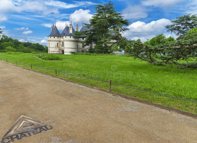 View on chateau Chaumont. In the park of Chaumont castle. Loire valley, France stock image