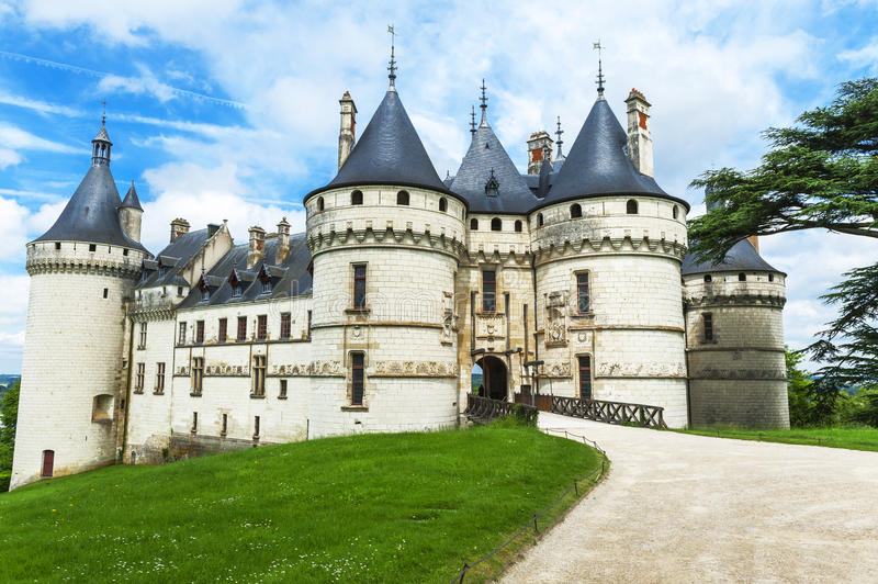 View on chateau Chaumont. In the park of Chaumont castle. Loire valley, France stock photography