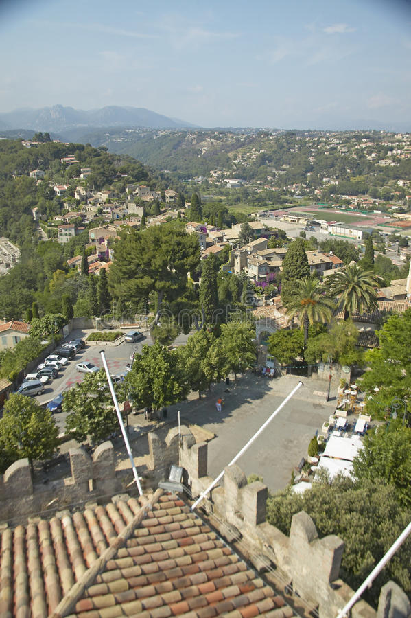 View from Chateau Grimaldi of Haut de Cagnes, France stock images
