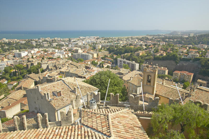 View from Chateau Grimaldi of Haut de Cagnes, France royalty free stock photo