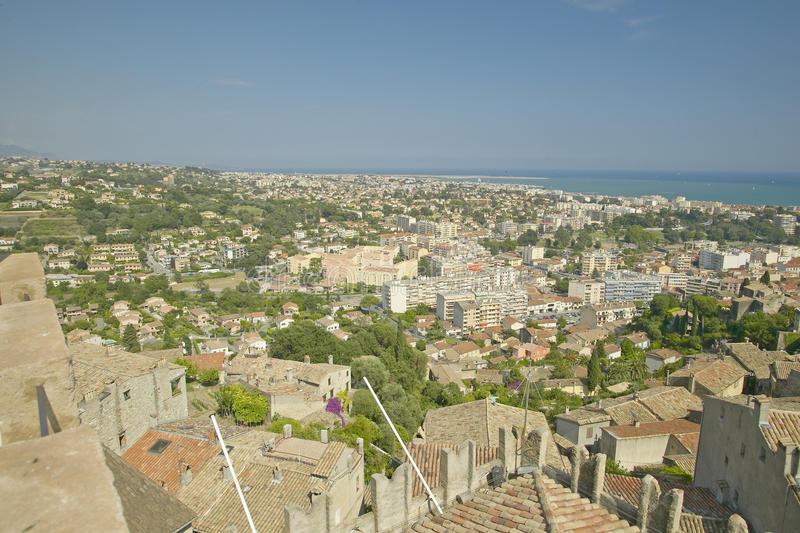 View from Chateau Grimaldi of Haut de Cagnes, France stock photo