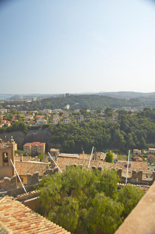 View from Chateau Grimaldi of Haut de Cagnes, France royalty free stock photos