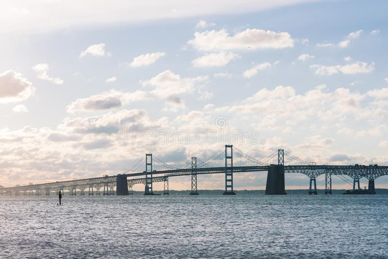 View of the Chesapeake Bay Bridge from Sandy Point State Park, in Annapolis, Maryland royalty free stock photography