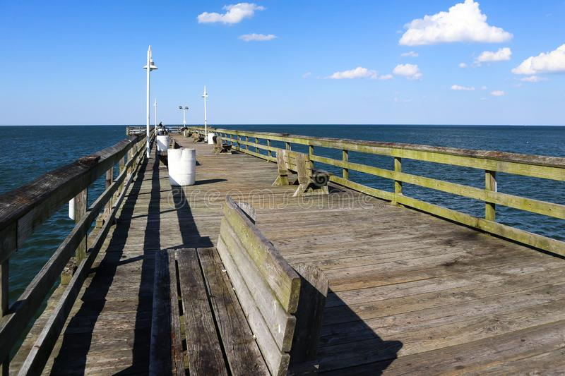 View of Chesapeake Bay From Ocean View Pier stock photo