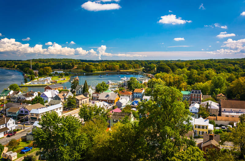 View of Chesapeake City from the Chesapeake City Bridge, Maryland. stock photography