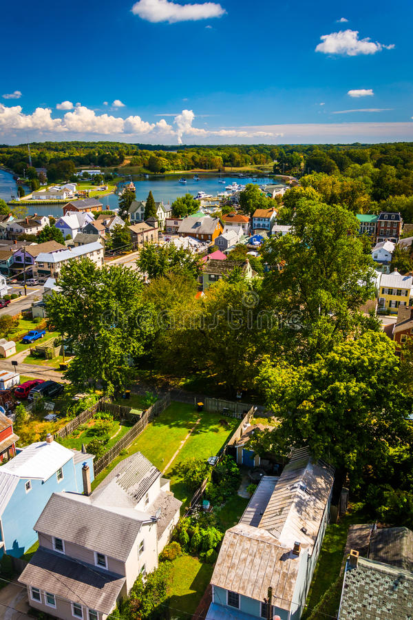 View of Chesapeake City from the Chesapeake City Bridge, Maryland. stock photo