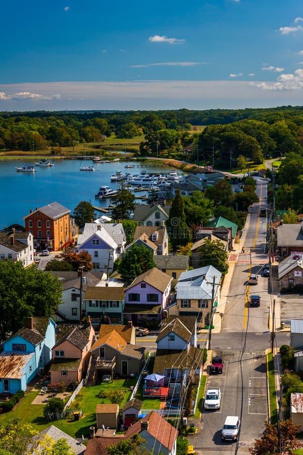 View of Chesapeake City from the Chesapeake City Bridge, Maryland. stock image