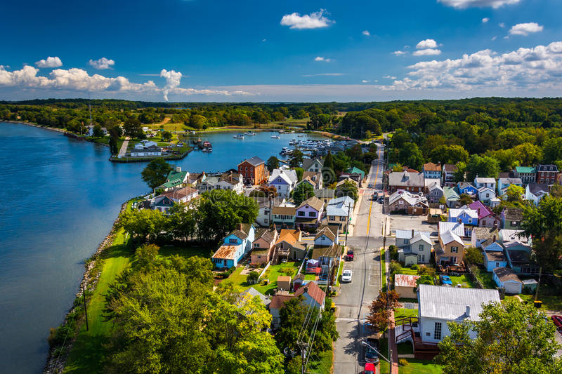 View of Chesapeake City from the Chesapeake City Bridge, Maryland. stock photography