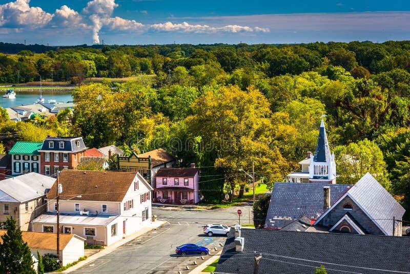 View of Chesapeake City from the Chesapeake City Bridge, Maryland. royalty free stock image