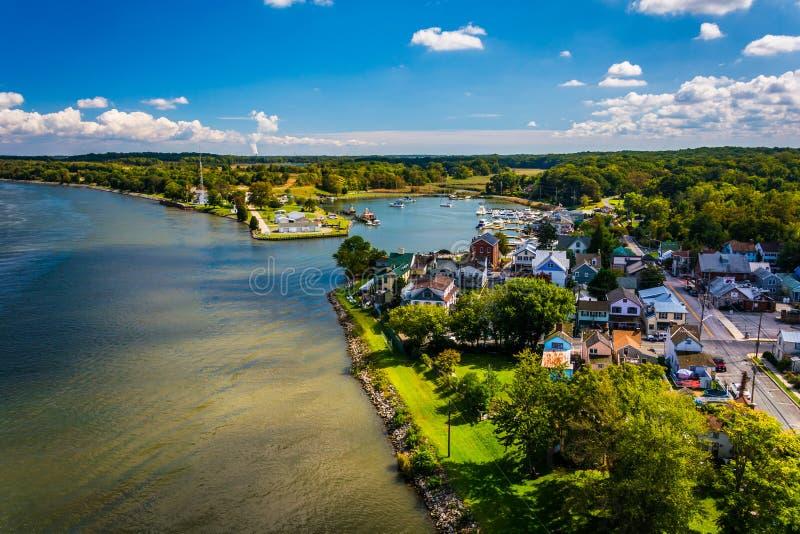 View of Chesapeake City from the Chesapeake City Bridge, Maryland. stock images