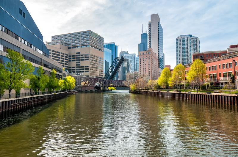 View of Chicago cityscape from Chicago River, United States royalty free stock photo