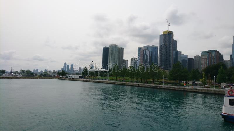 Chicago Skyline. View of the Chicago skyline from a boat royalty free stock images