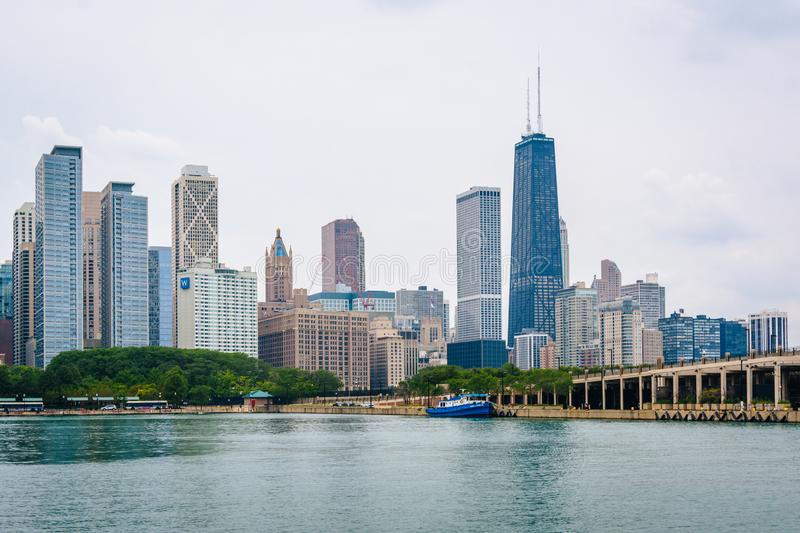 A view of the Chicago skyline from Navy Pier in Chicago, Illinois stock photos