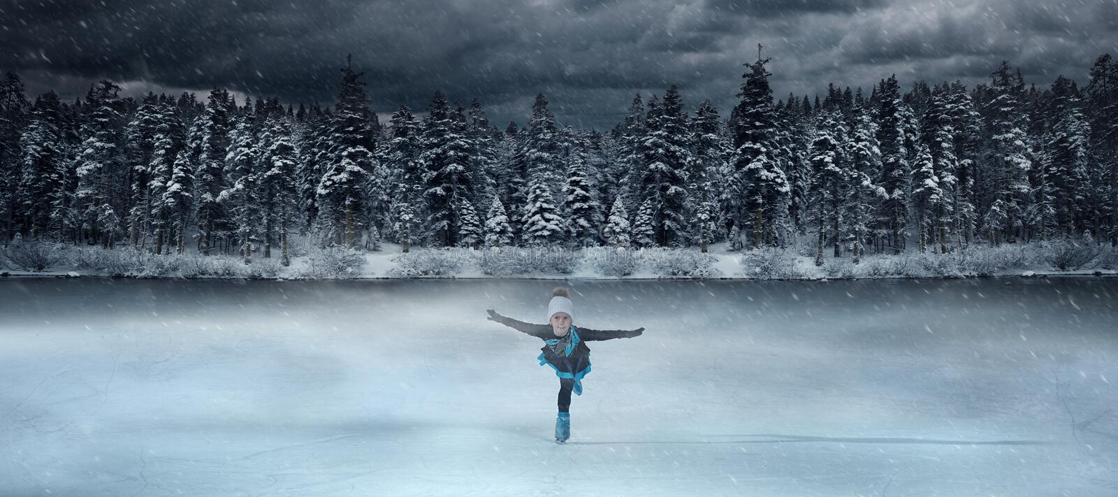 View of child figure skater on winter lake stock photography