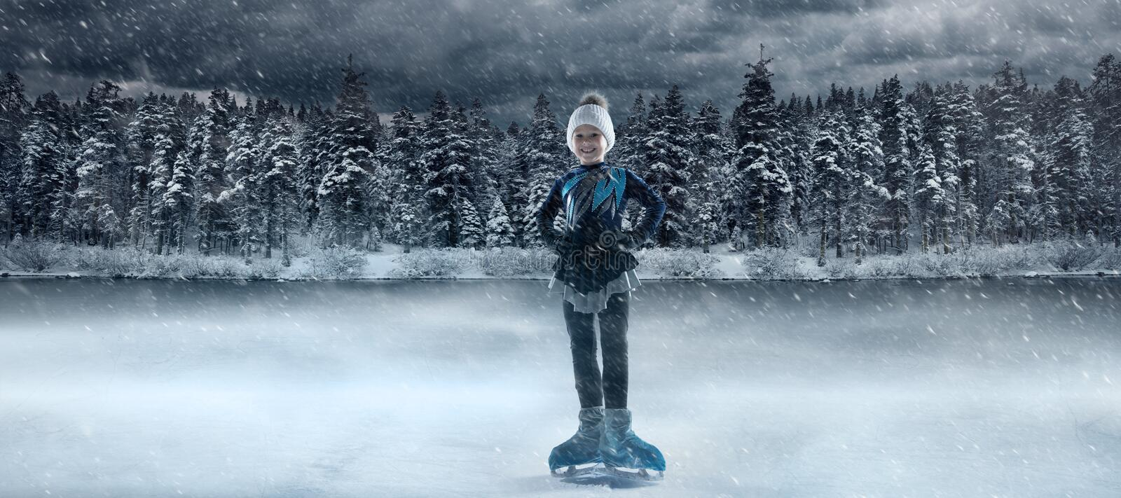 View of child  figure skater on winter lake stock photo