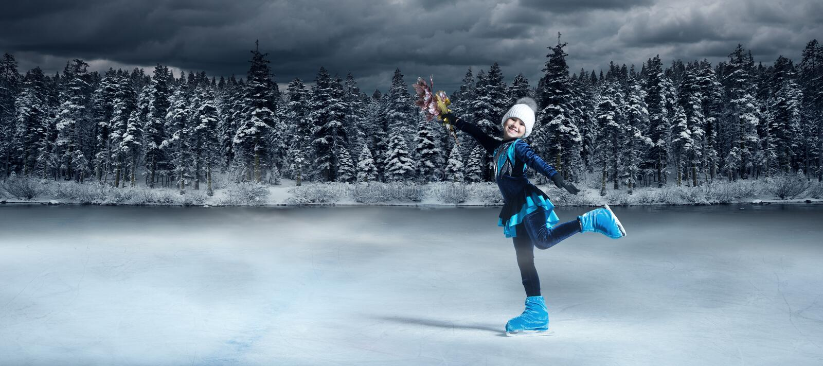 View of child  figure skater on winter lake royalty free stock photography