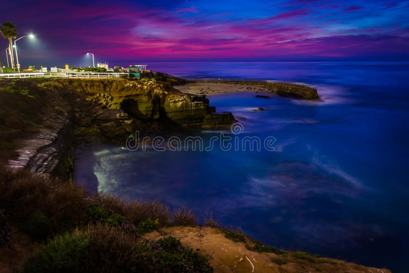 View of the Children's Pool at night, in La Jolla, California. View of the Children's Pool at night, in La Jolla, California royalty free stock photos