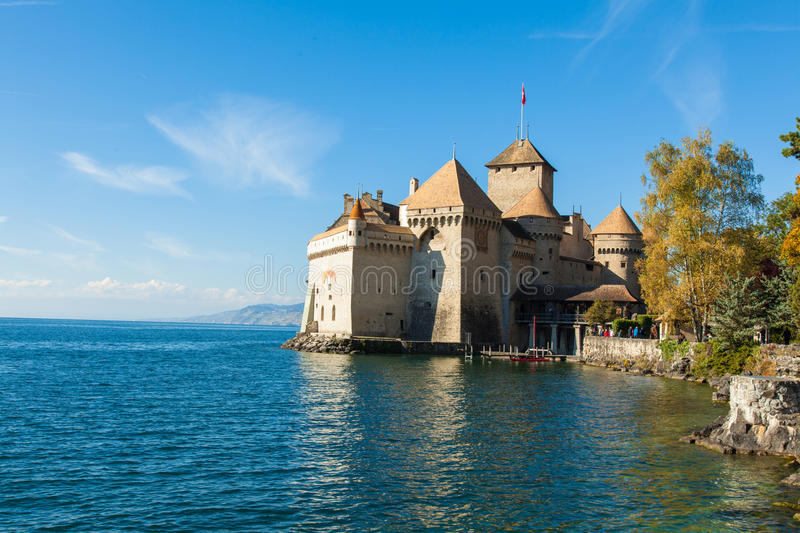 View of Chillon Castle in Montreux, Switzerland. View of Chillon Castle in Montreux Switzerland stock photo