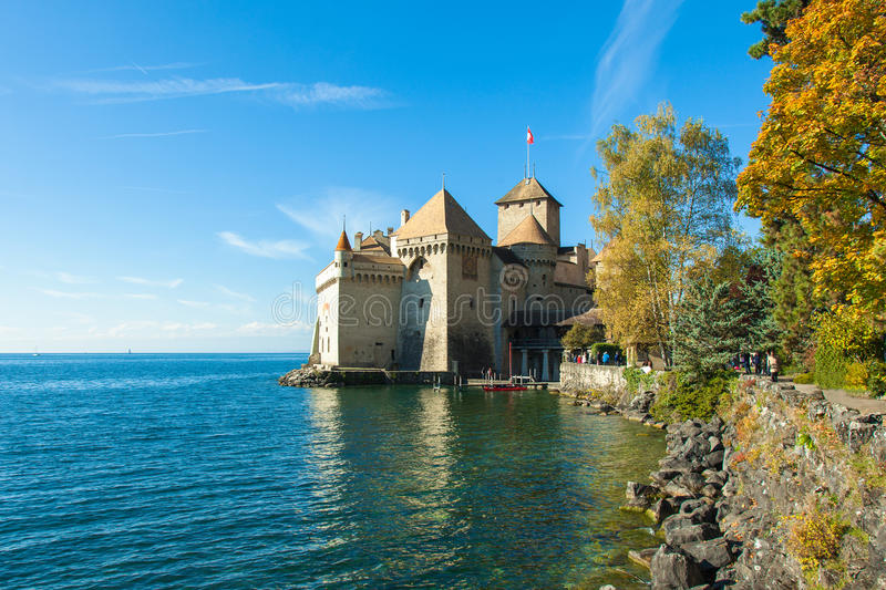 View of Chillon Castle in Montreux, Switzerland. View of Chillon Castle in Montreux Switzerland royalty free stock photography