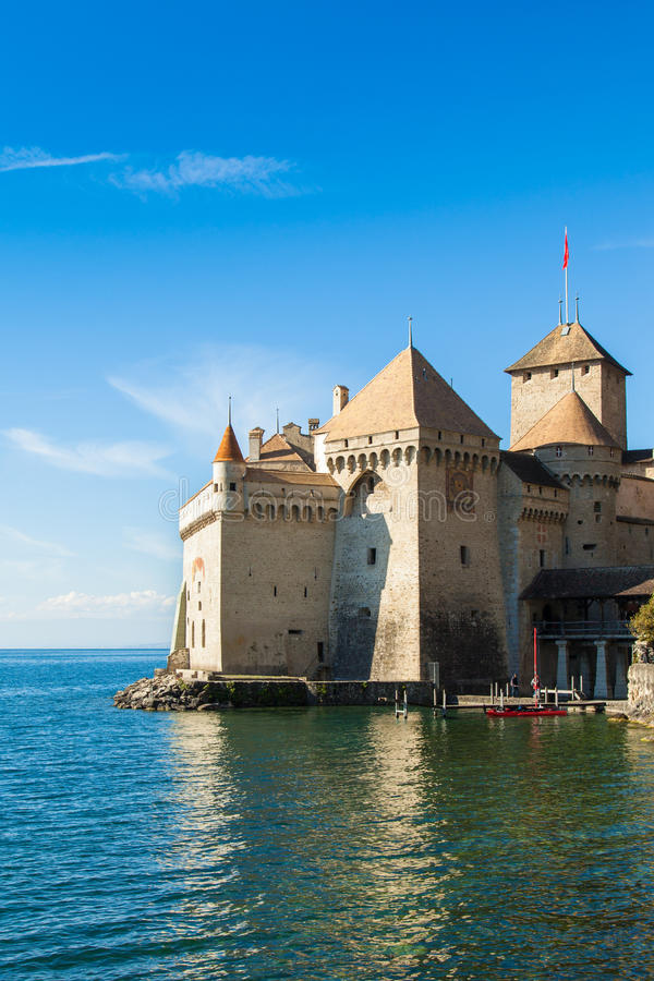 View of Chillon Castle in Montreux, Switzerland. View of Chillon Castle in Montreux Switzerland royalty free stock photos