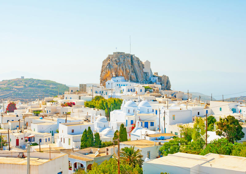 View of Chora in Amorgos. Chora the capital of Amorgos island in Greece royalty free stock photography