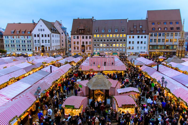 View of the Christkindlesmarkt, Nuremberg royalty free stock image