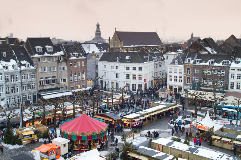 View of Christmas market on square of Maastricht stock photos