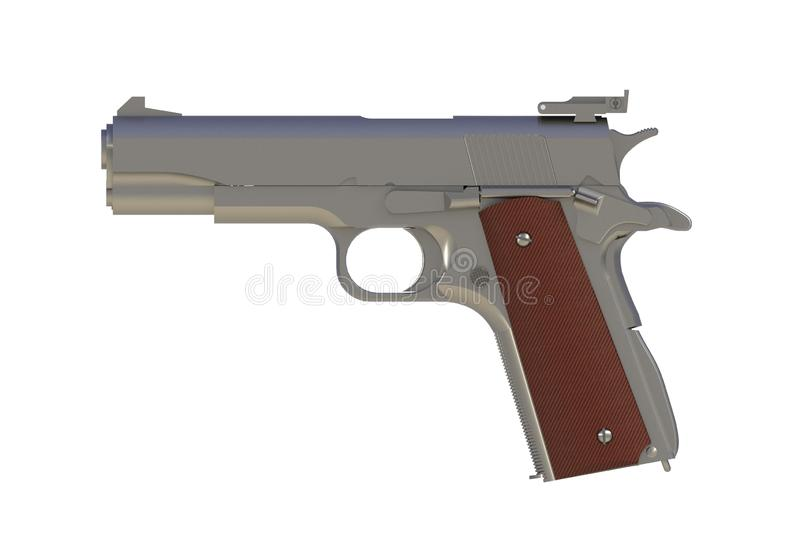 Beside view of chromium M1911 semi-automatic .45 caliber pistol isolated on white background vector illustration