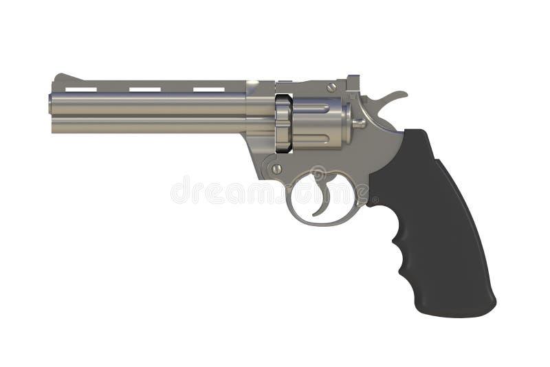 Beside view of chromium revolver 357 magnum on white background stock illustration