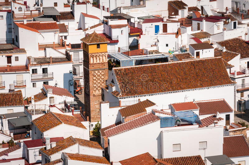 View of the church in Archez, Malaga, Spain stock images