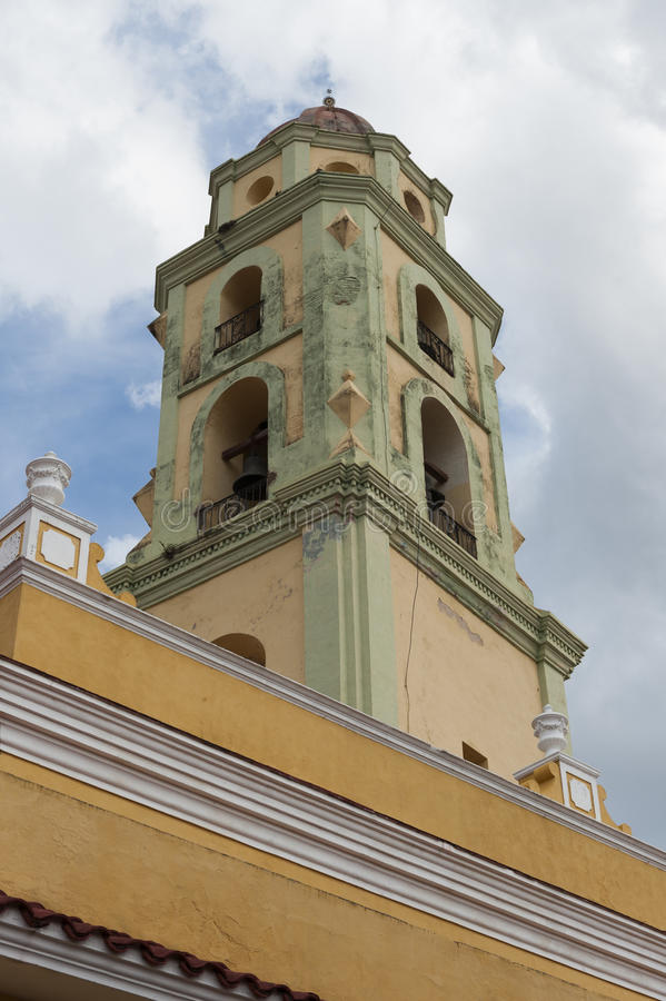 View of a church bell tower in Trinidad, Cuba stock photo