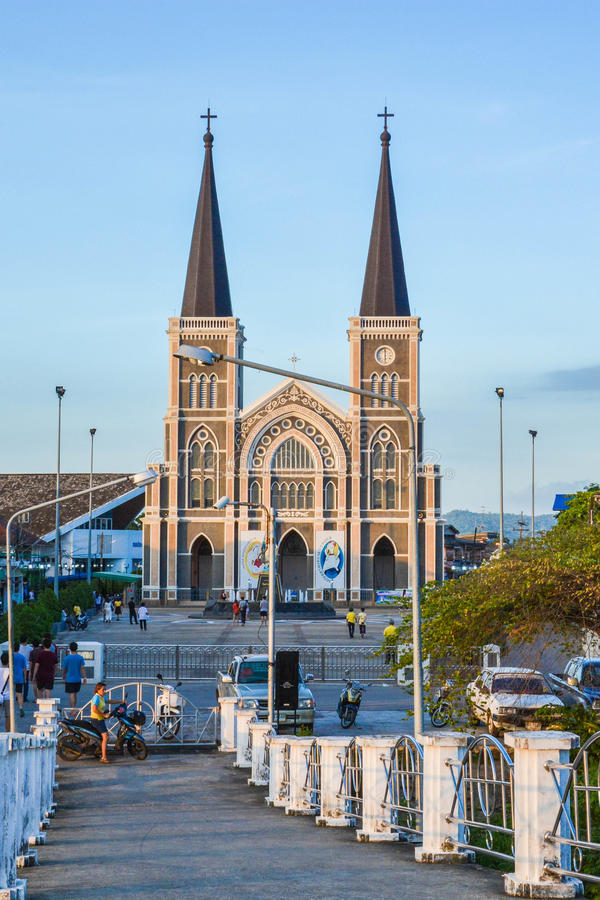 View of church from the bridge stock photography