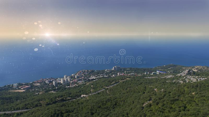 View of foros and the Black sea in the Crimea from the area near the foros Church stock photo
