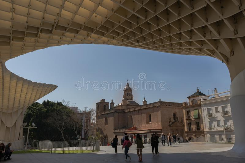 View of the Church of the Conception from the Setas de Sevilla viewpoint. Located in Plaza La Encarnación, in the old quarter of Seville. Seville, Spain stock photography