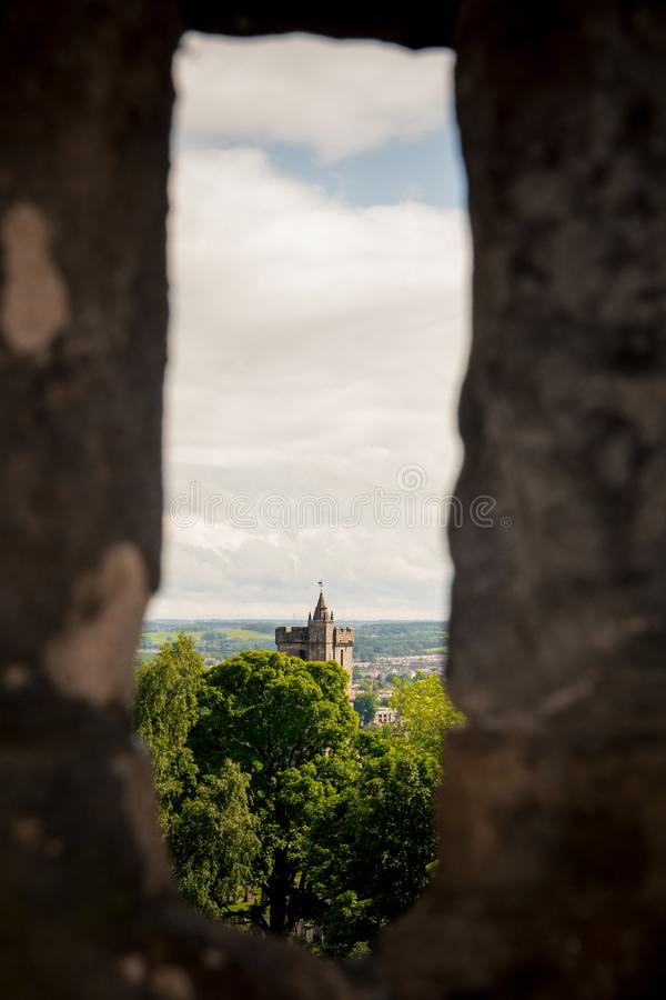 View of the Church of the Holy Rude through one of the arrow loops at Stirling Castle royalty free stock images