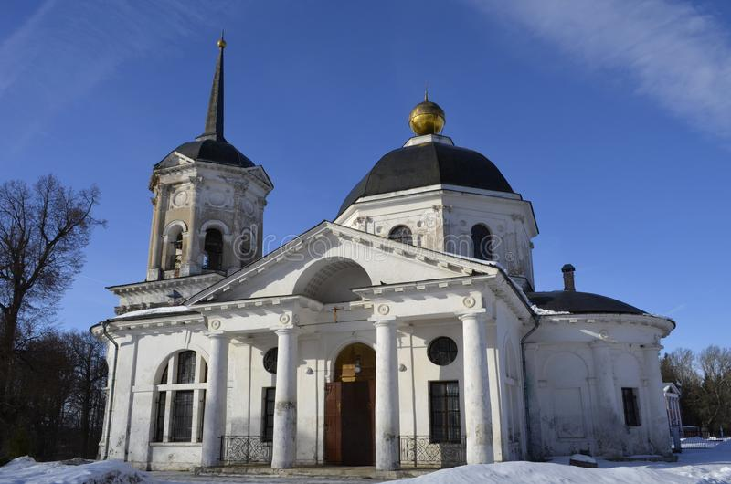 The Church of John the Baptist in the estate in Yaropolets near Volokolamsk, owned by Zagryazhsky, which Pushkin visited twice. View of the Church of John the royalty free stock photos