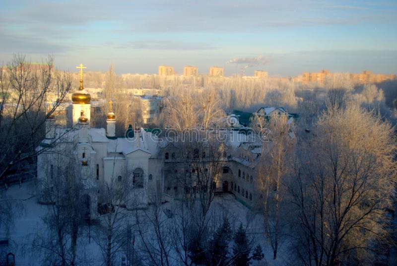 View of the Church in the name of All Saints in the Russian land shone on an early frosty morning. Cold, weather, morning, orthodox, church, sunrise, togliatti royalty free stock photos
