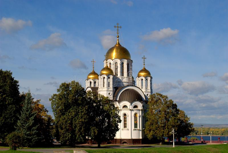 View of the church in the name of the Great Martyr George the Victorious in the city of Samara. royalty free stock images