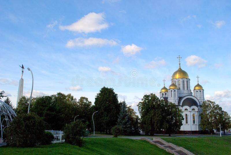 View of the church in the name of the Great Martyr George the Victorious in the city of Samara. royalty free stock photo