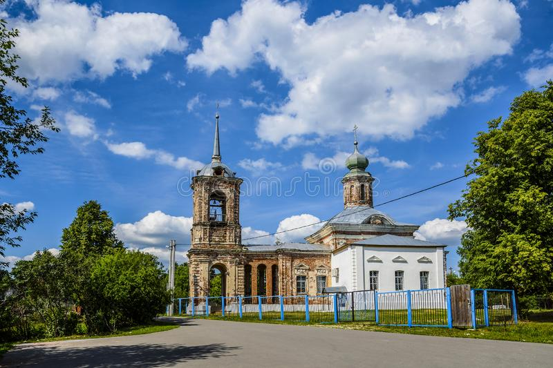 View Of the Church of the Nativity of the blessed virgin Mary. Stupinsky district, Staraya Sitnya village. 18th century, 1768. Moscow region, Russia royalty free stock images