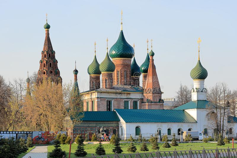View of the Church of Nikola Wet and the memorial to military financiers in the spring evening. Russia, Yaroslavl city, may 1, 201 royalty free stock image