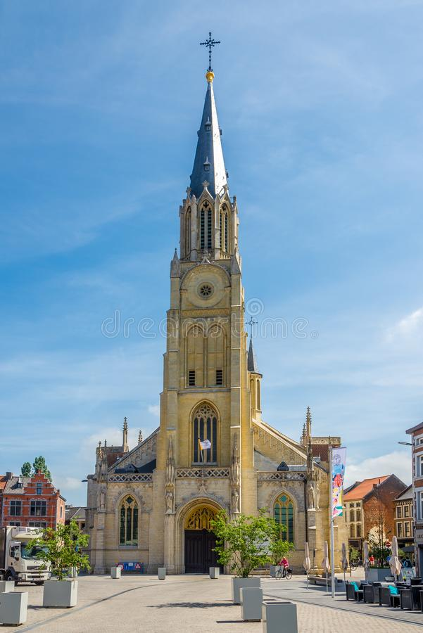 View at the church of Our Lady in Sint Truiden - Belgium. SINT TRUIDEN,BELGIUM - MAY 17,2018 - View at the church of Our Lady in Sint Truiden. The city is in the royalty free stock image