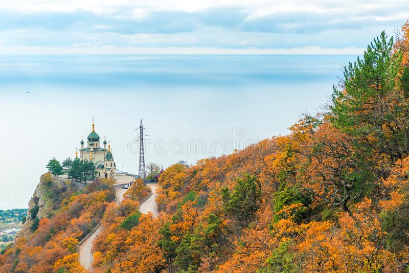 View of the Church of the Resurrection of Christ, Foros church on the rock in the Crimea royalty free stock photo