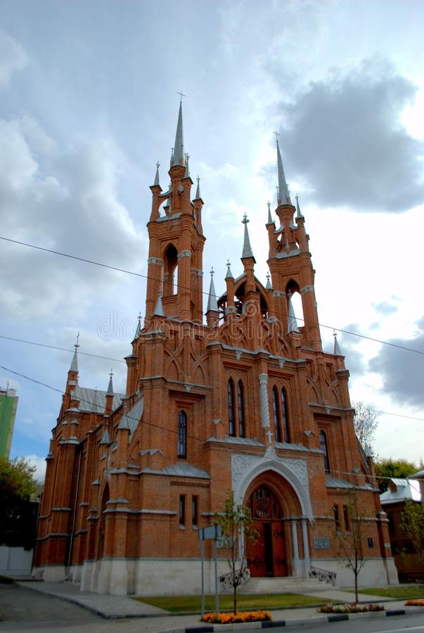 View of the Church of the Sacred Heart of Jesus of the Roman Catholic Church, built in 1906. View of the Polish Church in the city of Samara, built in 1906 by stock photo