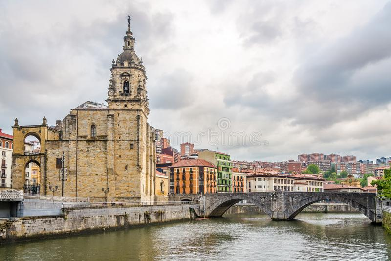 View at the Church of Saint Anthony of embankment of Nervion river in Bilbao - Spain stock image