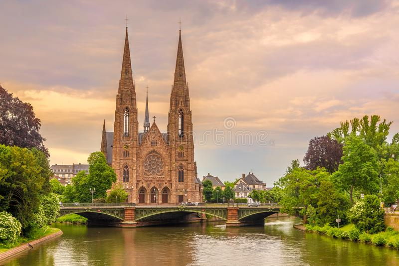 View at the church of Saint Paul with river Ill in Strasbourg - France royalty free stock image