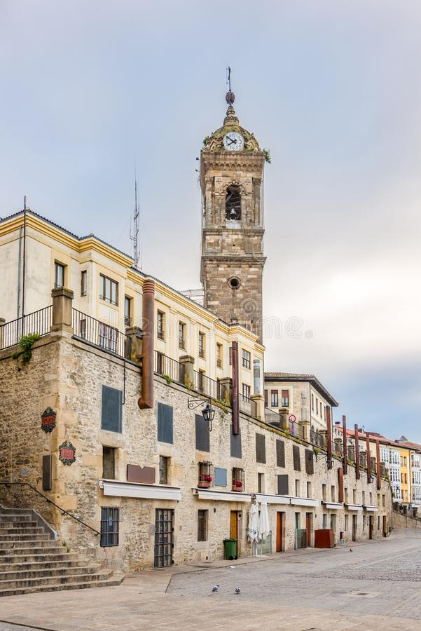 View at the Church of San Vincente in the streets of Victoria-Gasteiz,Spain stock image