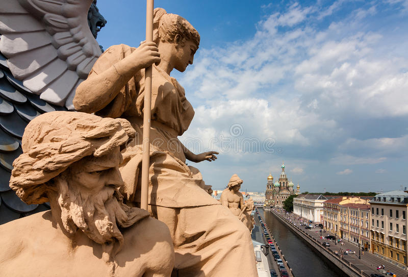 View of the Church of the Savior of Blood on the roof where there are beautiful sculptures in St. Petersburg stock images