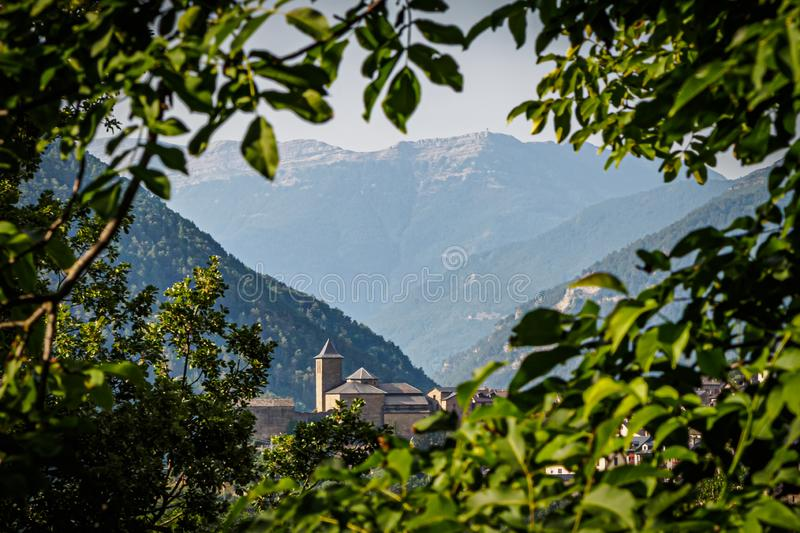 View of the church of Torla de Ordesa in the National Park of Ordesa stock image