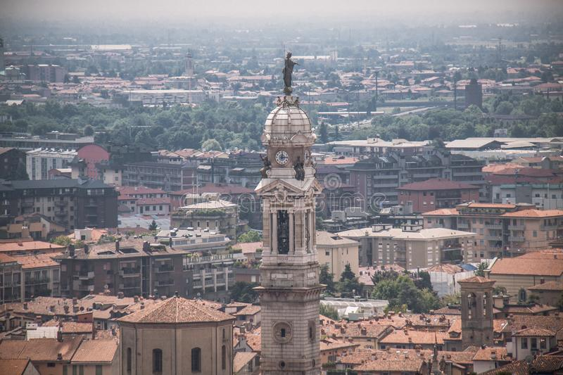 View on church tower in Bergamo, Italy royalty free stock image